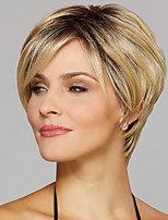 cheap -Synthetic Wig kinky Straight Asymmetrical Wig Short Blonde Synthetic Hair 6 inch Women's Fashionable Design Exquisite Comfy Blonde