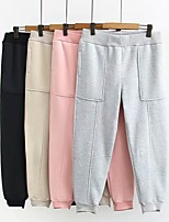 cheap -Women's Basic Streetwear Comfort Plus Size Cotton Loose Daily Going out Harem Jogger Pants Solid Colored Full Length Classic Black Blushing Pink Khaki