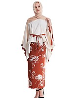 cheap -Women's Basic Floral Two Piece Set Cotton Wrap Skirt Embroidered Tops / Loose