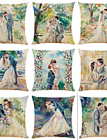 cheap -Set of 9 Romantic Wedding Linen Square Decorative Throw Pillow Cases Sofa Cushion Covers 18x18