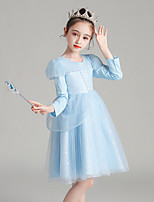 cheap -Princess Cosplay Costume Masquerade Girls' Movie Cosplay A-Line Slip Halloween Light Blue Dress Halloween Children's Day Masquerade Polyester Organza