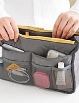 cheap -6 colors nylon travel handbag pouch/bag in bag/insert organizer/cosmetic pocket/makeup bag/tidy bag plus  cleaning cloth (grey)