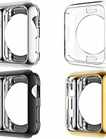 cheap -[4 pack] hankn for apple watch case 38mm 40mm 42mm 44mm, soft tpu cover scratch-resistant screen protective smartwatch protector bumper for iwatch series 1 2 3 4 5, black silver gold clear (38mm)
