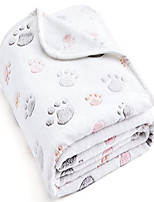 """cheap -350 gsm-super soft and premium fuzzy flannel fleece pet dog blanket, the cute print design washable fluffy blanket for puppy cat kitten indoor or outdoor, white, 31"""" x 24"""""""