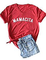 cheap -mamacita shirt women short sleeve letter print funny tee v neck casual tops blouse (red, xl)