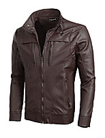 cheap -men's stand collar zipper closure imitation leather motorcycle jacket black m us 38