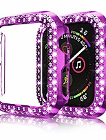 cheap -protector case compatible with apple watch se series 6 5 4 44mm cover, double row bling crystal diamonds protective cover pc plated bumper frame accessories (purple, 44mm)