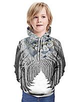 cheap -Kids Boys' Active Santa Claus 3D Graphic Christmas Print Long Sleeve Hoodie & Sweatshirt Gray