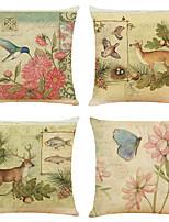cheap -Set of 4 Art Garden Linen Square Decorative Throw Pillow Cases Sofa Cushion Covers 18x18