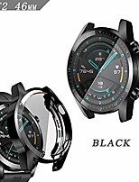 cheap -case compatible with huawei gt 2 46mm smartwatch full cover case screen protector, soft plated tpu scratch resistant slim all-around protective case (black, 46mm)