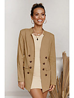 cheap -Women's Stand Collar Coat Regular Solid Colored Daily Basic Cotton Khaki S M L XL
