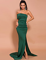 cheap -Mermaid / Trumpet Minimalist Sexy Prom Formal Evening Dress One Shoulder Sleeveless Sweep / Brush Train Spandex with Ruched Split 2020