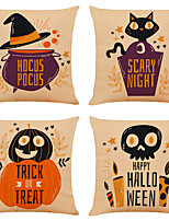cheap -Set of 4 Funny Halloween Linen Square Decorative Throw Pillow Cases Sofa Cushion Covers 18x18