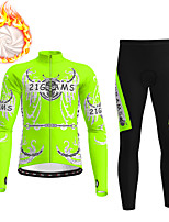 cheap -21Grams Men's Long Sleeve Cycling Jacket with Pants Winter Fleece Polyester Blue Orange Green Novelty Bike Jacket Tights Clothing Suit Fleece Lining Breathable Warm Back Pocket Sports Novelty