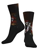 cheap -Crew Socks Compression Socks Calf Socks Athletic Sports Socks Cycling Socks Men's Women's Bike / Cycling Breathable Soft Comfortable 1 Pair Graphic Santa Claus Cotton Black S M L / Stretchy