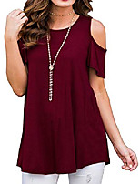cheap -summer blouses for women plus size short sleeve tunic tops cold shoulder shirts