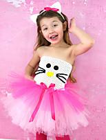 cheap -Kids Little Girls' Dress Cartoon Patchwork Backless Layered Mesh Blushing Pink Knee-length Sleeveless Cute Dresses Regular Fit