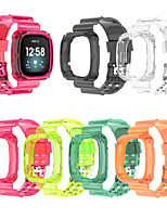 cheap -Silicone Clear Case Strap for Fitbit Versa 3 / Fitbit Sense Watch Band Bracelet and Protective Cover for Fitbit Versa3 / Sense