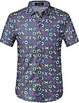 cheap -men's printed casual short sleeve denim button down shirt (x-large, blue red)