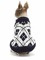 cheap -dog sweater plaid british style pet cat winter knitwear warm clothes puppy coat appare