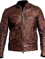 cheap -vintage cafe racer distressed brown biker leather jacket