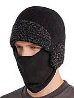 cheap -Men's Hiking Cap Beanie Hat 1 set Winter Outdoor Windproof Warm Soft Thick Skull Cap Beanie Pollution Protection Mask Solid Color Polyester Taffeta Black Grey Dark Gray for Fishing Climbing Running