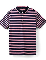 cheap -Men's Golf Polo Shirts Short Sleeve Autumn / Fall Spring Summer UV Sun Protection Breathable Quick Dry Cotton Stripes Purple / Stretchy