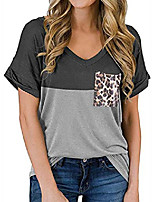 cheap -women's short sleeve t shirts v-neck tunic tops loose casual tees front leopard pocket (small, grey)