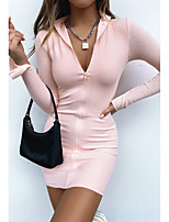 cheap -Women's Sheath Dress Short Mini Dress - Long Sleeve Solid Color Zipper Fall Sexy 2020 Black Blushing Pink S M L XL