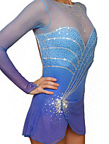 cheap -Figure Skating Dress Women's Girls' Ice Skating Dress Blue Spandex High Elasticity Training Competition Skating Wear Handmade Crystal / Rhinestone Gradient Color Long Sleeve Ice Skating Winter Sports