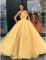 cheap -Ball Gown Elegant Beautiful Back Quinceanera Formal Evening Dress Strapless Sleeveless Floor Length Tulle with Sleek Pleats Tier 2020