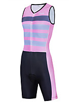 cheap -WECYCLE Men's Women's Sleeveless Cycling Jersey with Shorts Triathlon Tri Suit Summer Pink Stripes Bike Breathable Quick Dry Sports Stripes Mountain Bike MTB Road Bike Cycling Clothing Apparel