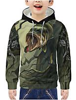 cheap -Kids Boys' Active 3D Animal Print Long Sleeve Hoodie & Sweatshirt Army Green