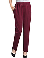 cheap -womens stretch knit pants pull on pants with elastic waist, burgundy, 12