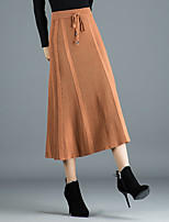 cheap -Women's Causal Daily Active Streetwear Skirts Solid Colored Drawstring Khaki Brown