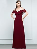 cheap -A-Line Elegant Empire Party Wear Wedding Guest Dress V Neck Short Sleeve Floor Length Chiffon with Sleek 2020