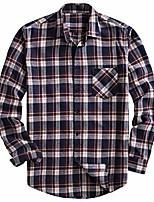 cheap -men's 100% cotton long sleeve plaid fleece shirt button up flannel shirt (dtf08, l)