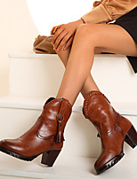 cheap -Women's Boots Block Heel Boots Cowboy Western Boots Cuban Heel Round Toe Mid Calf Boots Vintage British Daily Party & Evening PU Rivet Tassel Solid Colored Black Yellow Brown / Mid-Calf Boots