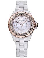 cheap -women's diamonds white ceramic analog quartz wristwatch girls fashion casual waterproof watch (white gold)