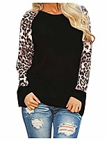 cheap -women's leopard tunic tops crewneck sweatshirts casual long sleeve shirts ladies loose pullover oversize tops(black,4xl)