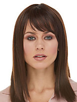 cheap -Synthetic Wig Natural Straight With Bangs Wig Medium Length Dark Brown Synthetic Hair Women's Fashionable Design Classic Exquisite Dark Brown
