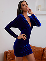 cheap -Women's Sheath Dress Short Mini Dress - Long Sleeve Solid Color Backless Ruched Patchwork Summer Fall Elegant Sexy 2020 Blue S M L