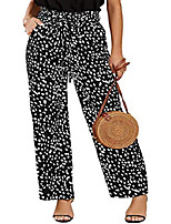 cheap -womens high waisted leopard print palazzo pants belted wide leg long trousers with pockets