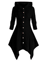 cheap -Women's Single Breasted Coat Regular Solid Colored Daily Basic Black Red Green L XL XXL 3XL