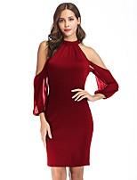 cheap -Women's A-Line Dress Short Mini Dress - Long Sleeve Solid Color Patchwork Fall Halter Neck Sexy Slim 2020 Black Blue Wine S M L XL XXL