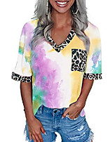 cheap -womens tie dye leopard printed patchwork casual t shirt loose v neck short sleeve tops 2xl red