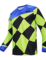 cheap -21Grams Men's Long Sleeve Cycling Jersey Winter Polyester Green Geometic Bike Jersey Top Mountain Bike MTB Road Bike Cycling Thermal Warm Breathable Quick Dry Sports Clothing Apparel / Stretchy