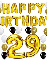 """cheap -80th birthday party decorations kit - happy birthday balloon banner, number """"80"""" balloon mylar foil, black gold white latex ballon, perfect 80 years old party supplies"""