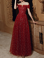 cheap -A-Line Elegant Glittering Wedding Guest Engagement Dress Illusion Neck Short Sleeve Floor Length Tulle with Pleats Sequin 2020