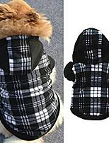 cheap -winter warm black white plaid puppy pet dog hoodie hooded sweatshirt pullover - black white plaid m